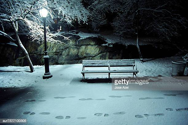 A set of footprints pass a lamppost and bench in Central Park, New York City, USA.