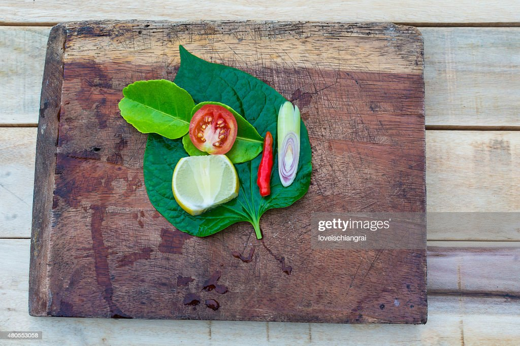 Set of fresh asian herbs on wood : Stock Photo