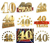 Set of number forty years (40 years) celebration design. Anniversary golden number template elements for your birthday party. 3D illustration