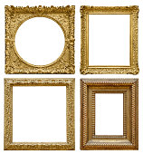 Set of golden vintage frame isolated on white background (Clipping Path)