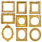 Set of golden vintage frame isolated on white backgroundSet of golden vintage frame isolated on white background
