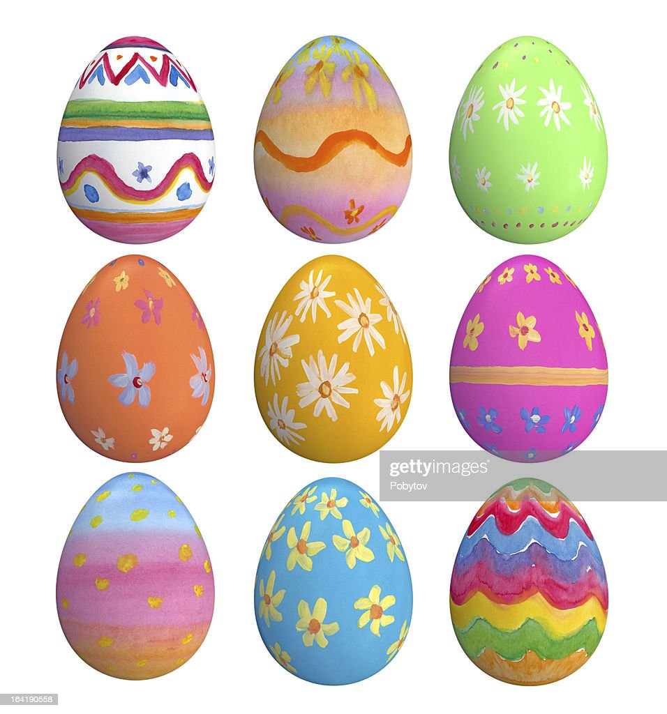 Set Of Hand Painted Easter Eggs
