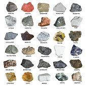 Set of isolated minerals and stones. Iron ore, sandstone, apatite, quartz, bauxite,  phosphorite, magnetite, gypsum, agate, asbestos, marble, corundum, kaolin, marlstone minerals.