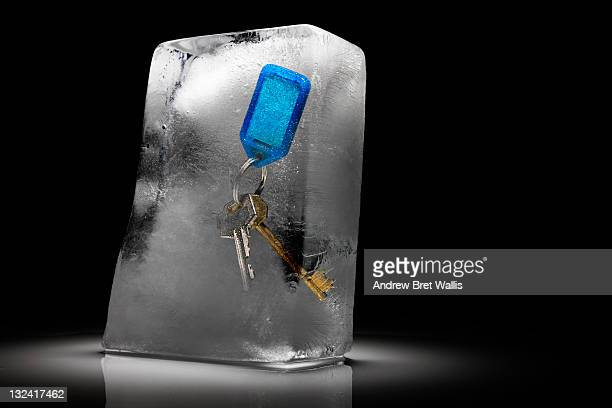 Set of keys on a fob frozen in ice