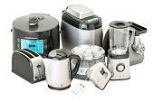 Set of kitchen home appliances. Toaster, kettle, mixer, blender, 'yogurt maker', multicooker, grinder, bread machine, 3D rendering isolated on white background