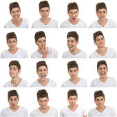 set of different male facial expressions