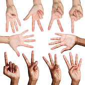 Set of african-american and caucasian male hands showing figures, count one, two, three, four, five. Isolated at white background