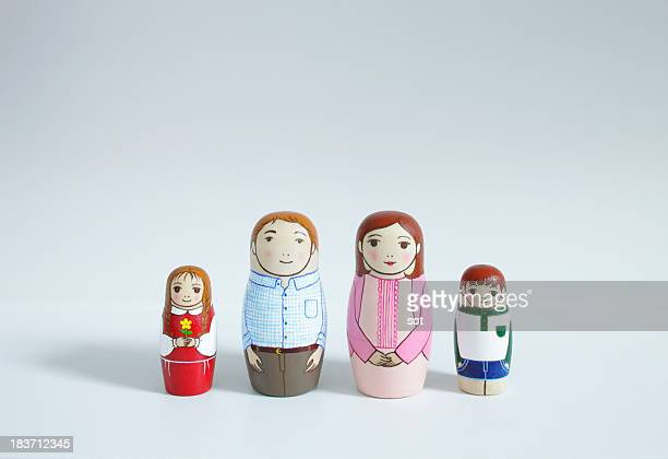 A set of Matryoshka Dolls of family