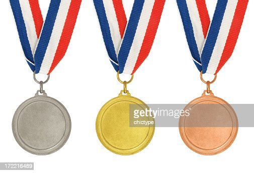 'Set of medals aa Gold, Silver and Bronze'