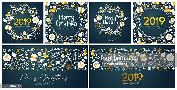Set of Merry Christmas and Happy New Year Card Template : Stock Photo
