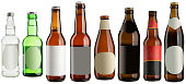 Set of multiple beer bottles with blank stickers isolated on white, high resolution