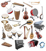 Set of musical instruments on a white background. String Instruments. Percussion tools. Keyboard instrument. 3d illustration.