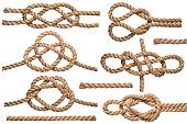 Set of nautical rope knot isolated on white background.