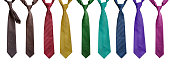 Set of neckties on white background