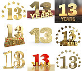 Set of number thirteen year (13 year) celebration design. Anniversary golden number template elements for your birthday party. 3D illustration.