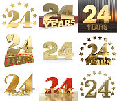 Set of number twenty four year (24 year) celebration design. Anniversary golden number template elements for your birthday party. 3D illustration.