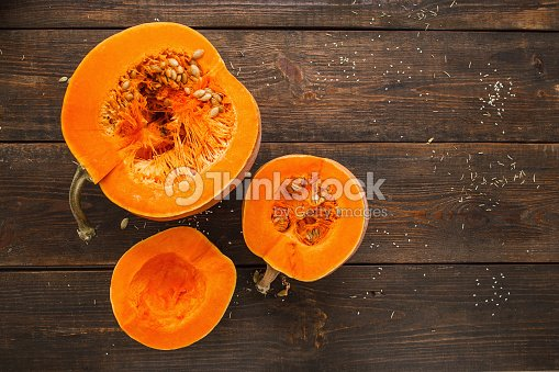 Set of orange pumpkins on wood flat lay free space : Stock Photo