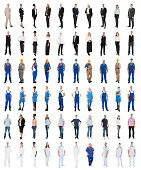 Set Of People With Various Occupations Standing Against White Background