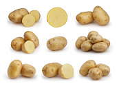Set of potatoes isolated on white background with clipping path