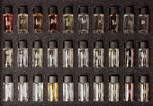 Set of pure wine aromas used for sommelier trailing