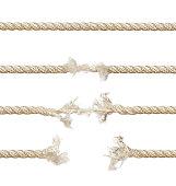 Set of ropes isolated on white background