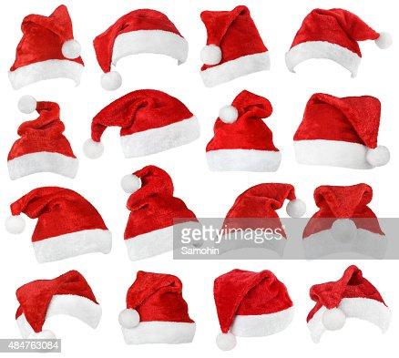 Conjunto de gorros de Santa Claus rojos : Foto de stock