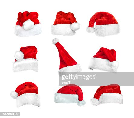 set of Santa's hats isolated on white with clipping path : Foto de stock