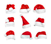 set of Santa's hats isolated on white with clipping path