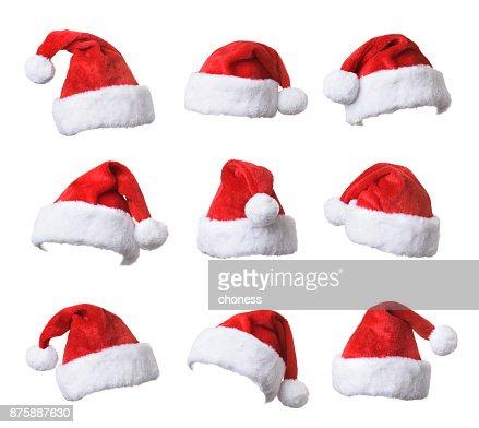 Conjunto de sombrero rojo de Santa Claus aislado en fondo blanco : Foto de stock