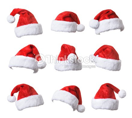3a3b0ccc7f7 Set Of Santas Red Hat Isolated On White Background Stock Photo ...