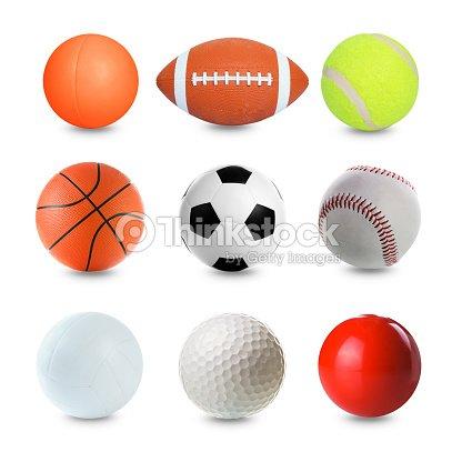 Set Of Sports Balls On White Background Stock Photo