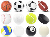 Set of sports balls, soccer, basketball, rugby, tennis, volleyball, hockey baseball, billiards, golf, puck, 3d illustration
