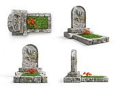 Set of stone grave with grass in different view isolated on a white background. 3d illustration
