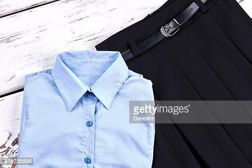 Set of stylish uniform for school girl. : Stock Photo