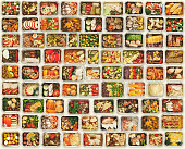 Collection of take away foil boxes with healthy food. Set of containers with everyday meals - meat, vegetables and law fat snacks on white background, top view