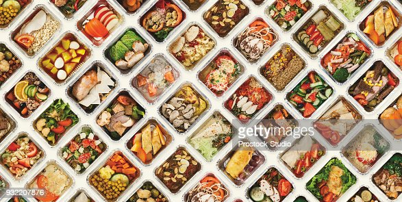 Set of take away food boxes at white background : Stock Photo