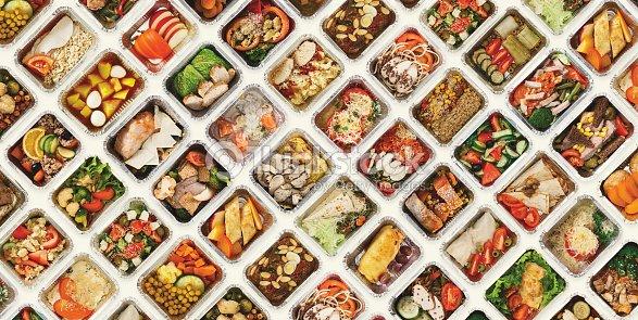 Set of take away food boxes at white background : Stock Photo