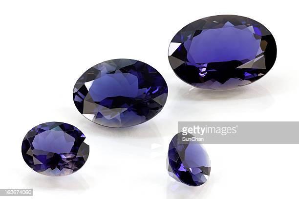 Set of タンザナイトまたはサファイア、菫青石