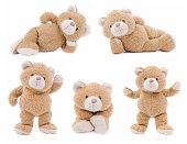Isolated teddy bears in different positions.