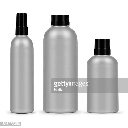 set of three cosmetic bottles isolated on a white background : Stock-Foto