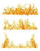 set of orange flame strips isolated on white background