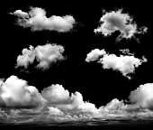 Cloud - Sky, Cut Out, Sky, Black Background, White Color, Backgrounds, Number 5