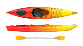 Set of two views plastic kayak yellow-red fire color withe oar. 3D render, isolated on white background