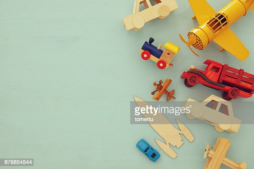 Set of various cars and airplanes toys. Top view image. : Stock Photo