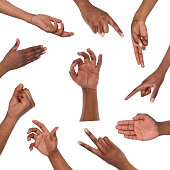 Black mans hands gestures and signs collection isolated on white background. Collage of multiple shots