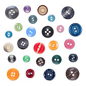 Set of Various Sewing Colourful Plastic Buttons, Isolated on White Background with Shades. Part2