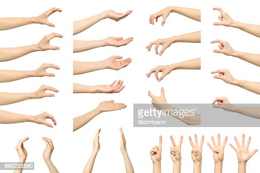 Set of woman's hand measuring invisible items. Isolated on white : Stock Photo