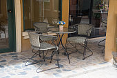 Set of wood net chairs and table