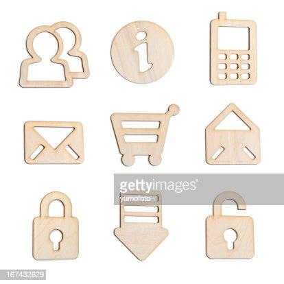 Conjunto de ícones de madeira para o novo sítio Web e aplicações : Foto de stock