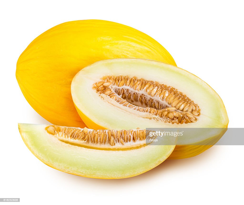 Set of yellow melon isolated on white background : Foto de stock